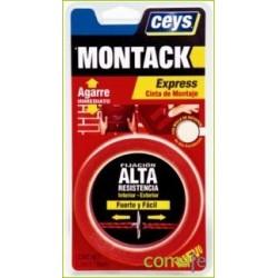 CINTA ADHESIVA 2 CARAS MONTACKEXPRESS ROJA 2,5MX19MM 507240 - Imagen 1