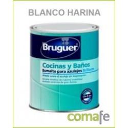 ESMALTE.SINT.AZULEJOS BRILLANTE BLANCO HARINA 750 ML BRUGUER - Imagen 1