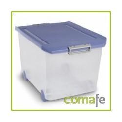 CAJA ORDENACION PLAST C/RUEDA 60LT 37X40,5X55 TRANSPARENTE - Imagen 1