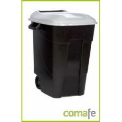 CONTENEDOR PLASTICO CON RUEDAS 100 LITROS NEGRO TAPA GRIS - Imagen 1