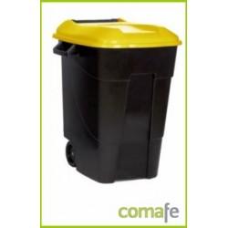 CONTENEDOR PLASTICO CON RUEDAS 100 LITROS NEGRO TAPA AMARILL - Imagen 1