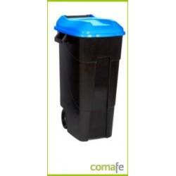 CONTENEDOR PLASTICO CON RUEDAS 100 LITROS NEGRO TAPA AZUL - Imagen 1