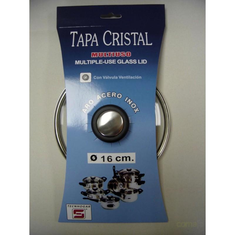 TAPA CRISTAL ARO INOX CON VALVULA 18CM - Imagen 1