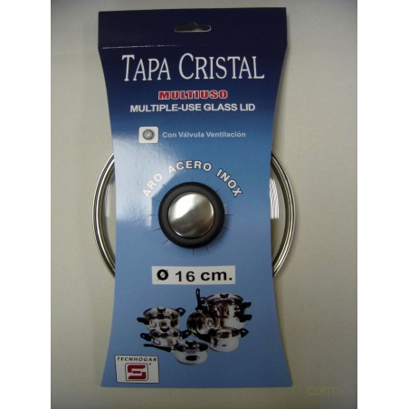 TAPA CRISTAL ARO INOX CON VALVULA 22CM - Imagen 1