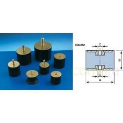 ANTIVIBRATORIO SOP CILINDRICO 25X22 MM MACHO 120033 AMC 12PZ - Imagen 1