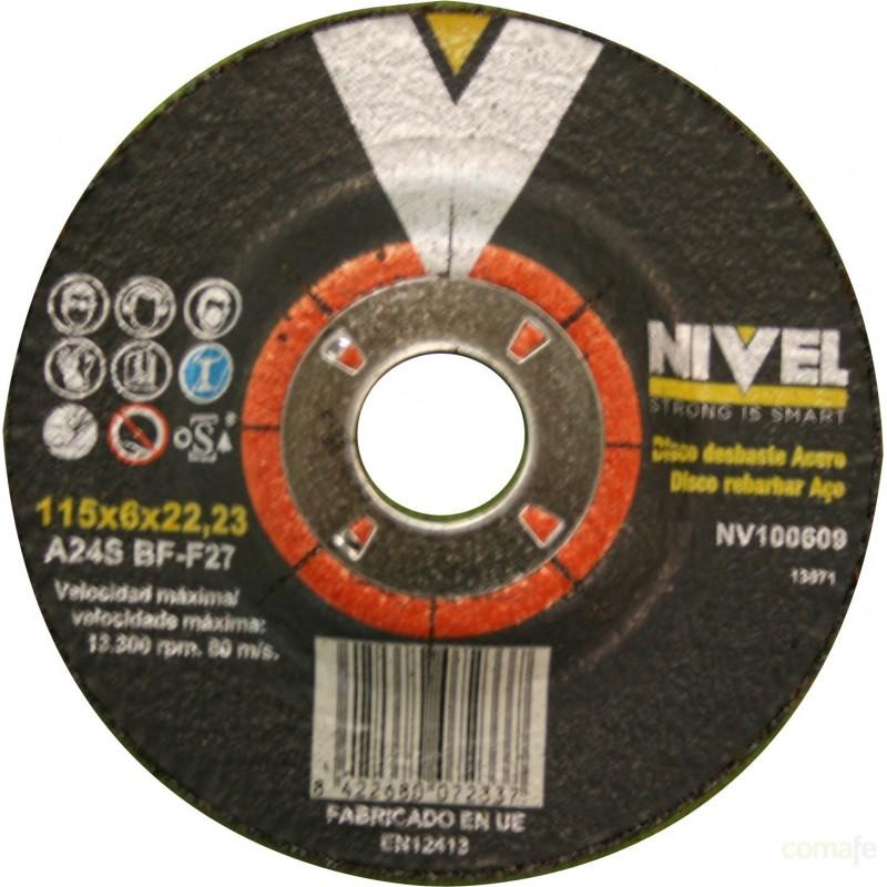 DISCO DESBASTE ACERO  115X6X22 NIVEL - Imagen 1