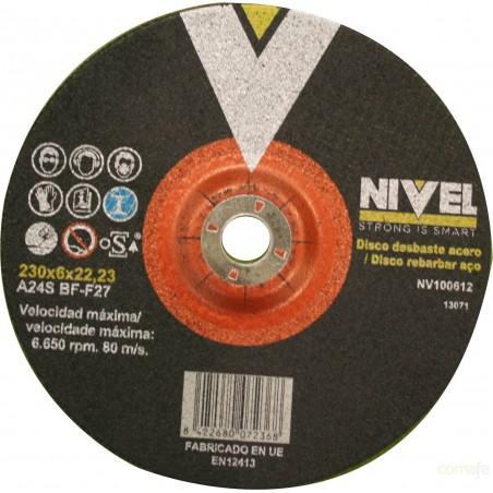 DISCO DESBASTE ACERO  230X6X22 NIVEL - Imagen 1
