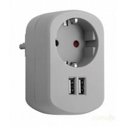 ADAPTADOR 1 TOMA 16A + 2 USB 2.1A 250V GRIS CENIZA SIMON - Imagen 1