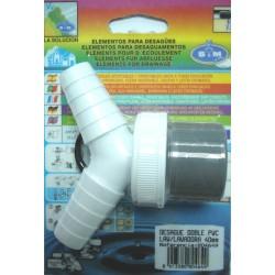 DESAGUE DOBLE LAVADORA PVC 40MM 804649 UNIDAD - Imagen 1