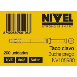 TACO CLAVO NVZ 8X80 50PZ NIVEL - Imagen 1