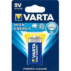 PILA ALCALINA 6LR61 9V HIGH ENERGY VARTA - Imagen 1
