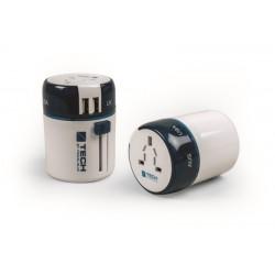 ADAPTADOR VIAJE TODO EL MUNDO 2 USB BL/A - Imagen 1