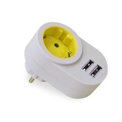 ADAPTADOR ELEC 16A-250V 1 TOMA+2 USB 2.1 - Imagen 1