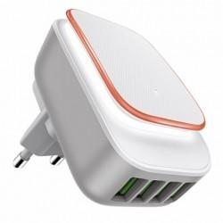 CARGADOR MULTIMEDIA USB CUADRUPLE NIGHT LIGHT 4,4A BL OSCACO - Imagen 1