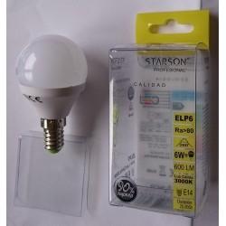 LAMPARA ESFERICA LED 6 W E-14 LUZ CALIDA 110503 - Imagen 1