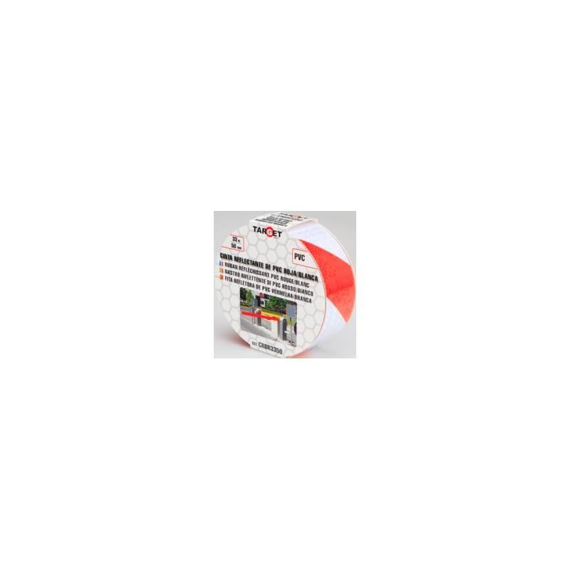 CINTA REFLECTANTE 33 MTX50 MM ROJO/BLANCO CRBR3350 - Imagen 1