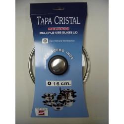 TAPA CRISTAL ARO INOX CON VALVULA 16CM - Imagen 1
