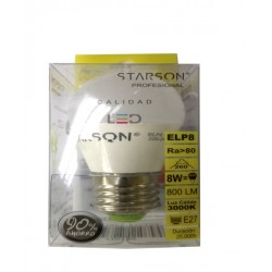 LAMPARA ESFERICA LEDS E-27 8 W LUZ CALIDA 110794 - Imagen 1