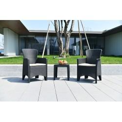Mueble jardín sillas 59x58,5x87 cm y mesa 42x42x42cm. NATUUR