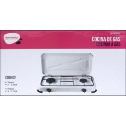 COCINA PORTATIL DE GAS 2 FUEGOS 580X330X90MM 1,4 /1,2 KW - Imagen 1