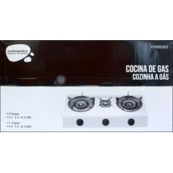 COCINA PORTATIL DE GAS 3 FUEGOS 700X370X80CM 4,3/3,4/0,75 KW - Imagen 1