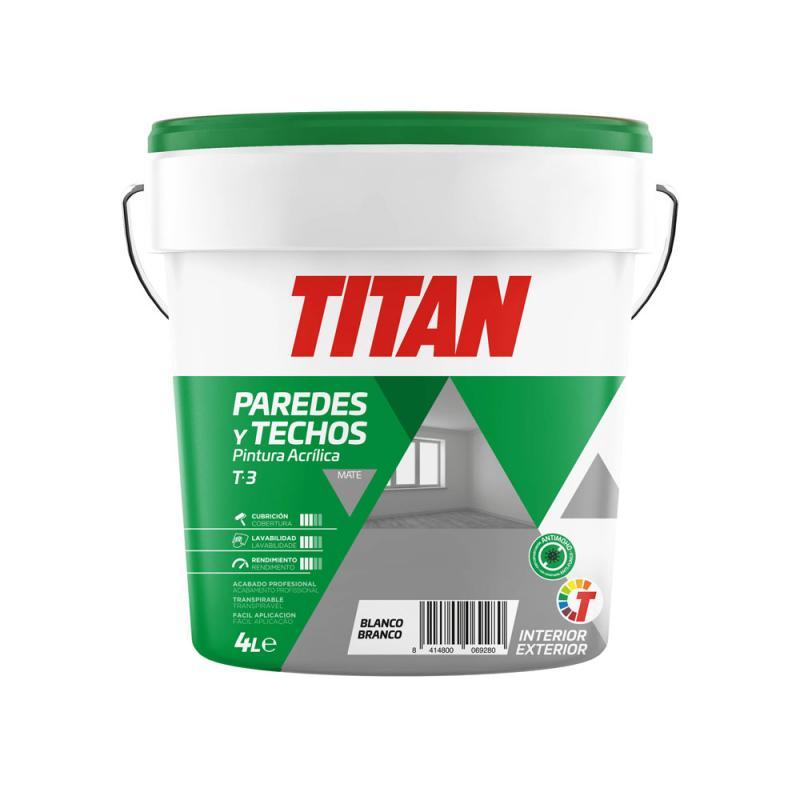 Pintura acrilica blanco mate para interior y exterior 4 L TITAN - Imagen 1
