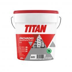 Pintura revestimiento fachadas acrilico liso blanco mate 15 L TITAN - Imagen 1