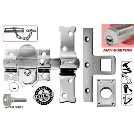 Cerrojo antibumping con boton interior y llave 50mm cromado INTERFER - Imagen 1